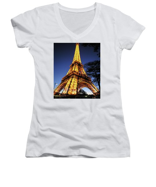 Women's V-Neck T-Shirt (Junior Cut) featuring the photograph Eiffel Tower by Jim Mathis