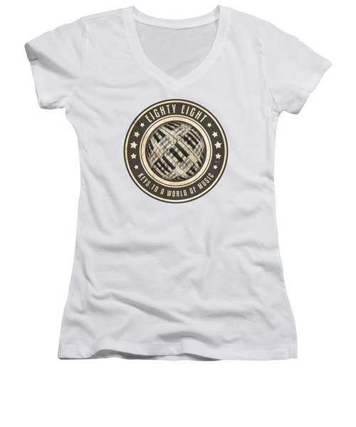 Eighty Eight Keys Women's V-Neck T-Shirt (Junior Cut) by Phil Perkins