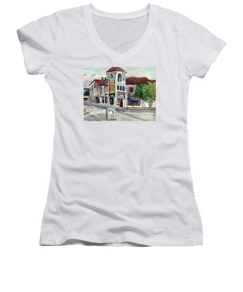 El Camino Real In San Carlos Women's V-Neck T-Shirt (Junior Cut) by Donald Maier