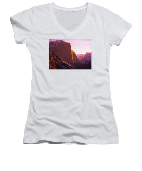 El Capitan And Half Dome, Yosemite N.p. Women's V-Neck (Athletic Fit)