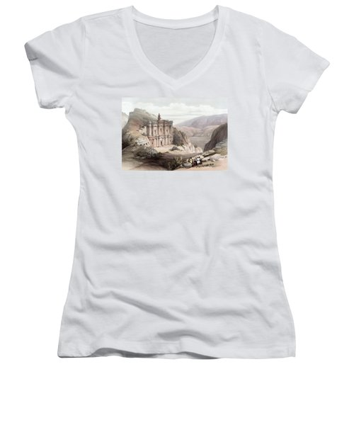 El Deir Petra 1839 Women's V-Neck T-Shirt (Junior Cut) by Munir Alawi