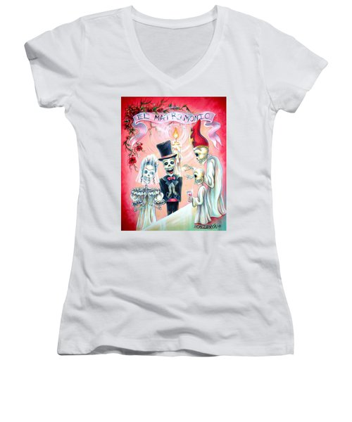 Women's V-Neck T-Shirt (Junior Cut) featuring the painting El Matrimonio by Heather Calderon