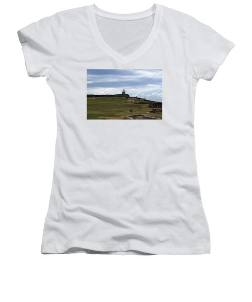 Women's V-Neck T-Shirt (Junior Cut) featuring the photograph El Morro by Lois Lepisto
