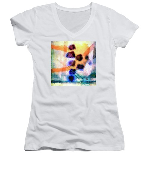 Women's V-Neck T-Shirt (Junior Cut) featuring the painting El Paso Del Tiempo by Dominic Piperata