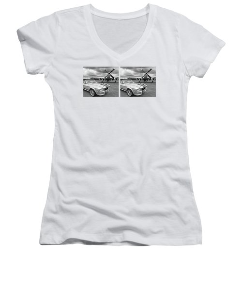 Eleanor Mustang With P51 Black And White Women's V-Neck T-Shirt
