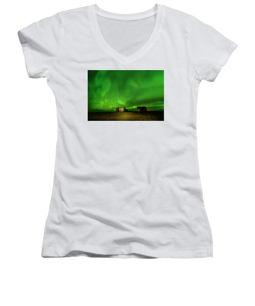 Electric Green Skies Women's V-Neck (Athletic Fit)