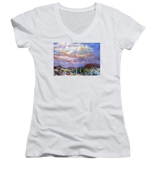 Electric Sunset Women's V-Neck T-Shirt (Junior Cut) by Donald Maier