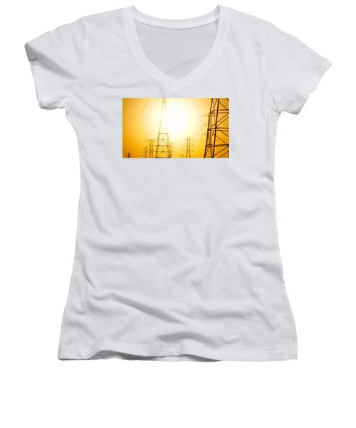 Electricity Towers Women's V-Neck (Athletic Fit)