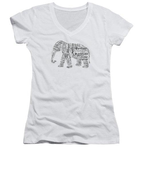 Elefont Noir Women's V-Neck T-Shirt (Junior Cut) by Heather Applegate