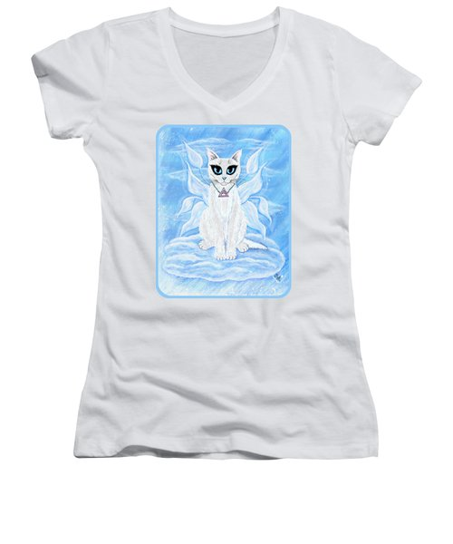 Elemental Air Fairy Cat Women's V-Neck T-Shirt (Junior Cut) by Carrie Hawks