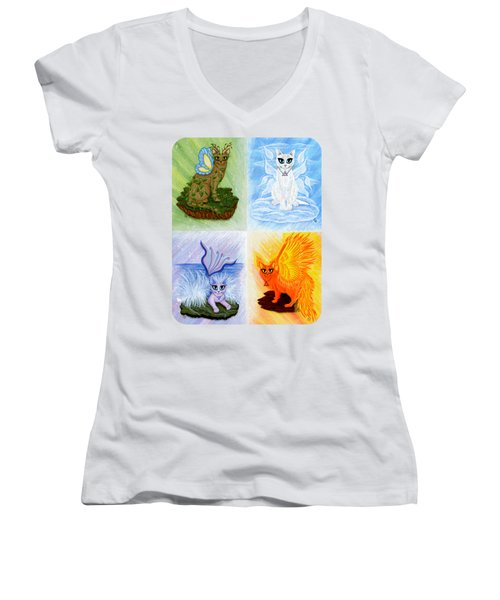 Elemental Cats Women's V-Neck T-Shirt (Junior Cut) by Carrie Hawks