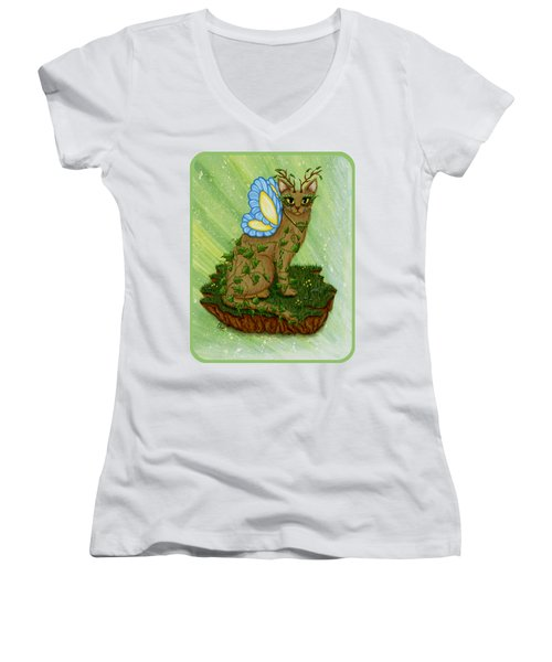 Elemental Earth Fairy Cat Women's V-Neck T-Shirt