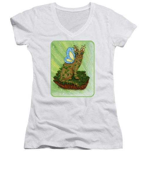 Elemental Earth Fairy Cat Women's V-Neck
