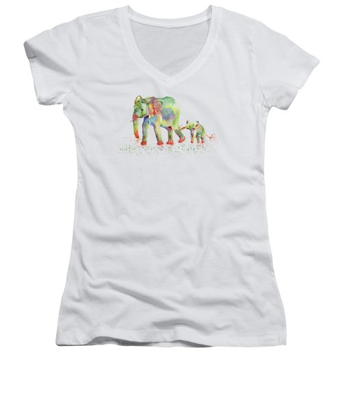 Elephant Family Watercolor  Women's V-Neck T-Shirt