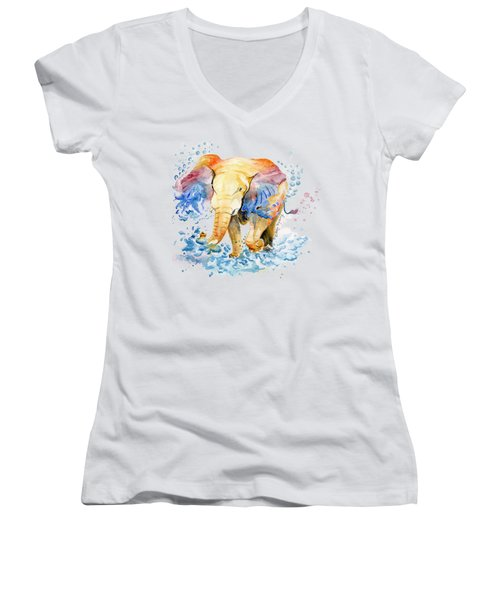 Elephant Watercolor Women's V-Neck T-Shirt