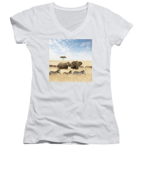 Elephants And Zebras In The Grasslands Of The Masai Mara Women's V-Neck