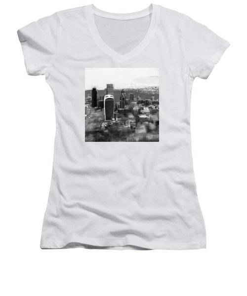Elevated View Of London Women's V-Neck (Athletic Fit)