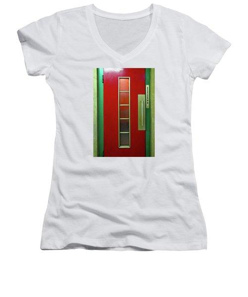 Elevator Door  Women's V-Neck T-Shirt (Junior Cut) by Ethna Gillespie