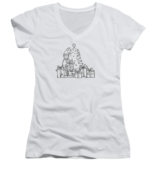Elf And Presents  Women's V-Neck T-Shirt (Junior Cut) by Mantra Y