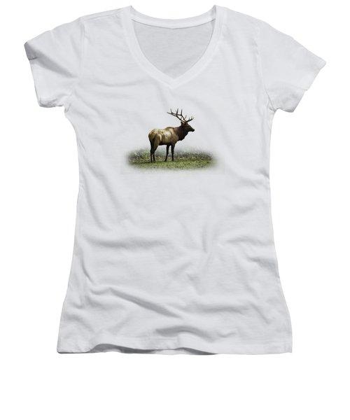 Elk IIi Women's V-Neck T-Shirt (Junior Cut) by Debra and Dave Vanderlaan