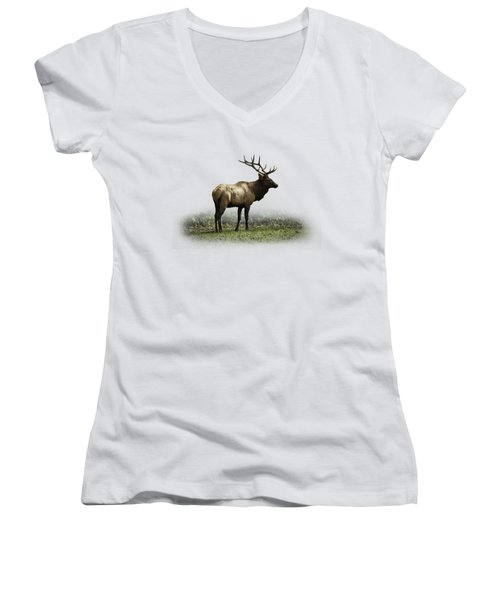 Women's V-Neck T-Shirt (Junior Cut) featuring the photograph Elk IIi by Debra and Dave Vanderlaan