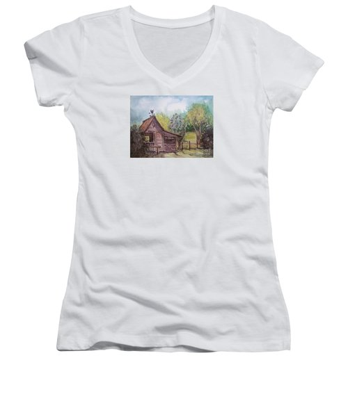 Women's V-Neck T-Shirt (Junior Cut) featuring the painting Elma's Horse Barn by Gretchen Allen