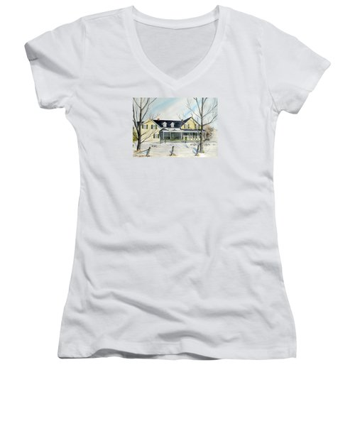 Women's V-Neck T-Shirt (Junior Cut) featuring the painting Elmridge Farm House by Jackie Mueller-Jones