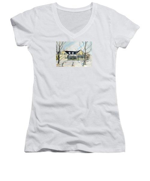 Elmridge Farm House Women's V-Neck T-Shirt (Junior Cut) by Jackie Mueller-Jones