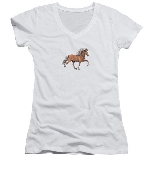 Women's V-Neck T-Shirt (Junior Cut) featuring the painting Elska by Shari Nees