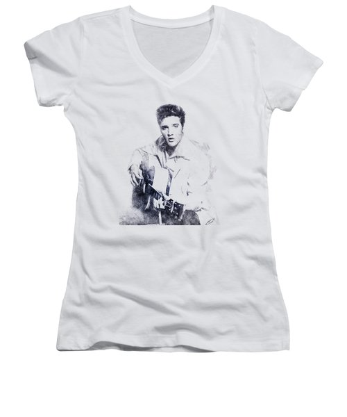 Elvis Presley Portrait 01 Women's V-Neck T-Shirt (Junior Cut)