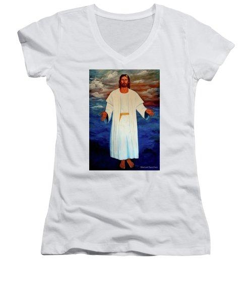 Emanuel Goes To His Father Women's V-Neck T-Shirt (Junior Cut) by Manuel Sanchez