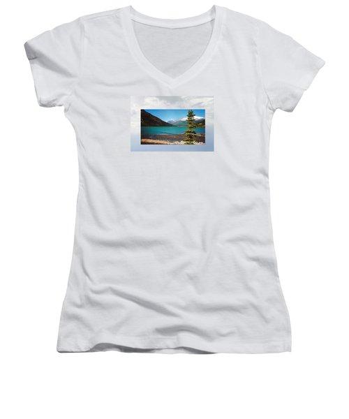 Emerald Lake Chilkoot Trail Alaska Women's V-Neck T-Shirt (Junior Cut) by Tina M Wenger
