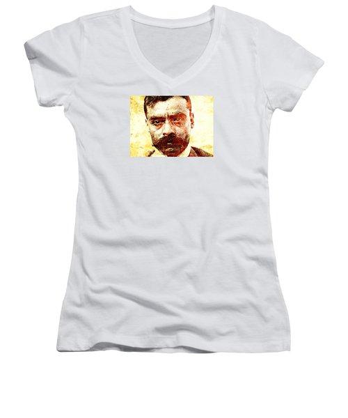 Emiliano Zapata Women's V-Neck T-Shirt (Junior Cut) by J- J- Espinoza