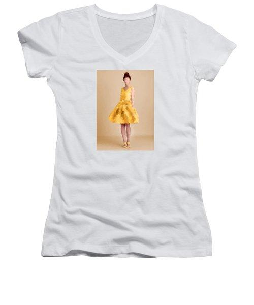 Women's V-Neck T-Shirt (Junior Cut) featuring the digital art Emma by Nancy Levan