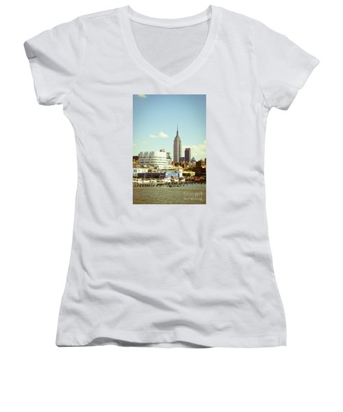 Empire State Building From Hudson Women's V-Neck T-Shirt (Junior Cut) by Perry Van Munster