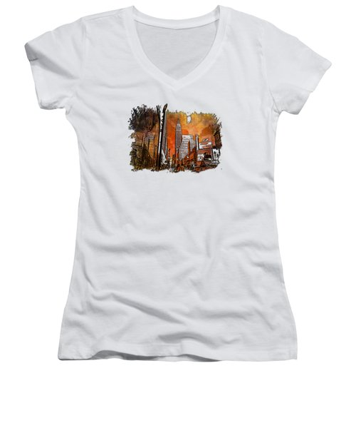 Empire State Reflections Earthy Rainbow 3 Dimensional Women's V-Neck T-Shirt (Junior Cut) by Di Designs