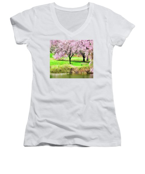 Women's V-Neck T-Shirt featuring the photograph Empty Bench Surrounded By Spring Colors by Gary Slawsky