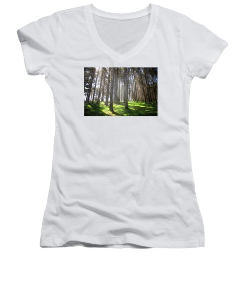 Women's V-Neck T-Shirt (Junior Cut) featuring the photograph Enchanted by Laurie Search