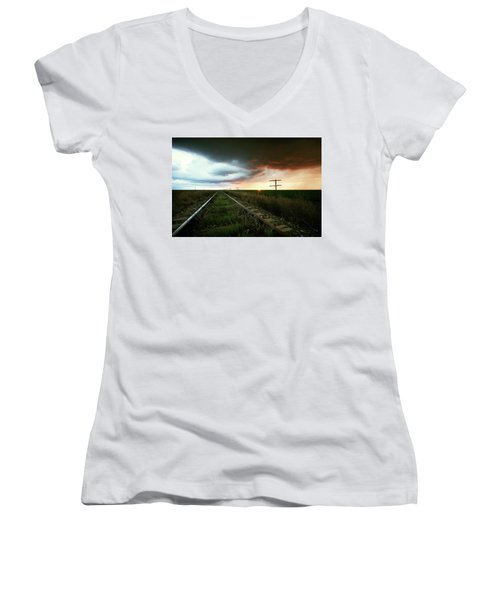 End Of A Stormy Day Women's V-Neck (Athletic Fit)