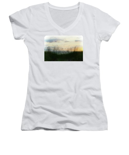 Women's V-Neck T-Shirt featuring the photograph End Of Day At Pentwater by Michelle Calkins