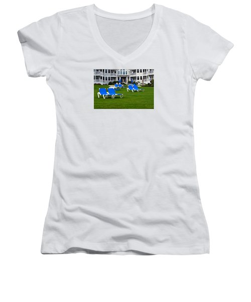 Women's V-Neck T-Shirt (Junior Cut) featuring the photograph End Of Season 3 by Richard Ortolano