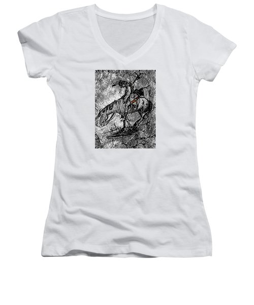 End Of The Trail 3 Women's V-Neck T-Shirt (Junior Cut) by Ayasha Loya