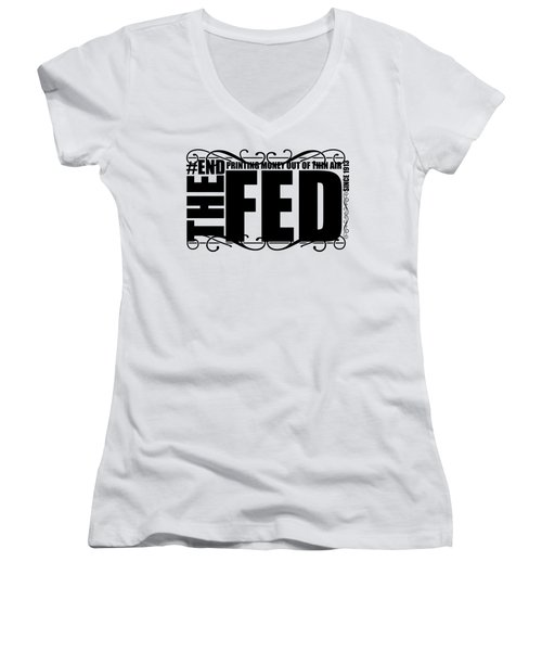 #endthefed Women's V-Neck (Athletic Fit)