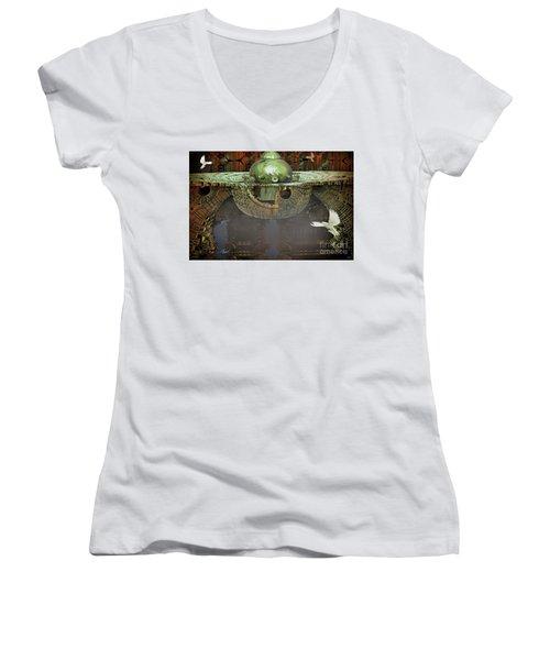 Engine Room Fractal Women's V-Neck T-Shirt (Junior Cut) by Melissa Messick