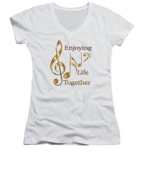 Enjoying Life Together Women's V-Neck T-Shirt (Junior Cut) by Georgeta Blanaru