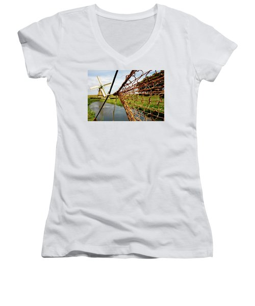 Women's V-Neck T-Shirt (Junior Cut) featuring the photograph Enkhuizen Windmill And Nets by KG Thienemann