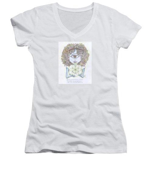 Women's V-Neck T-Shirt (Junior Cut) featuring the drawing Enlightened Alien by Similar Alien