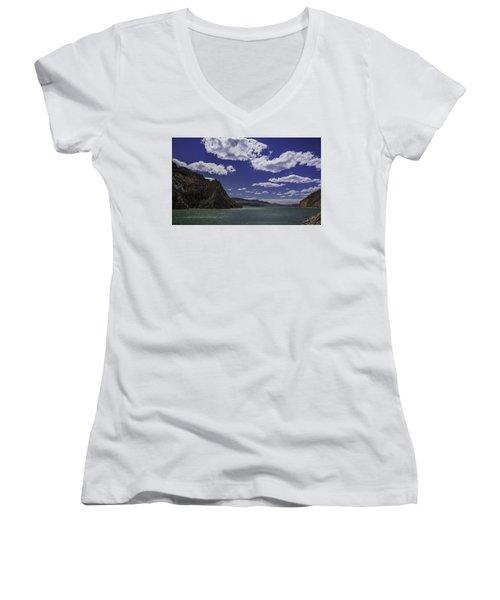 Entering Yellowstone National Park Women's V-Neck T-Shirt (Junior Cut) by Jason Moynihan