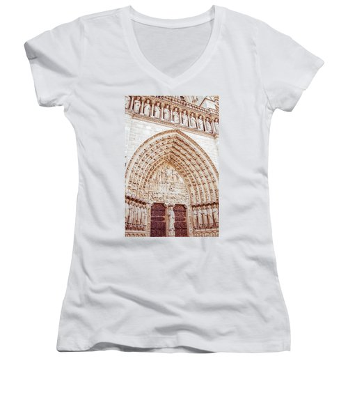 Entrance To Notre Dame Cathedral Women's V-Neck T-Shirt