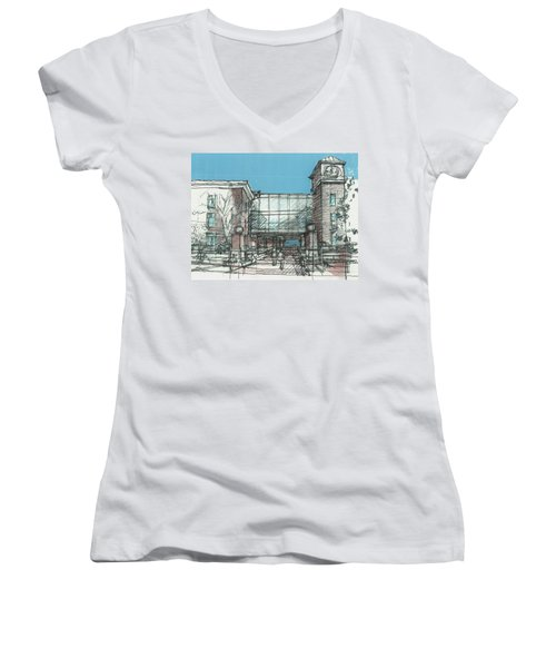 Entry Plaza Women's V-Neck T-Shirt (Junior Cut) by Andrew Drozdowicz